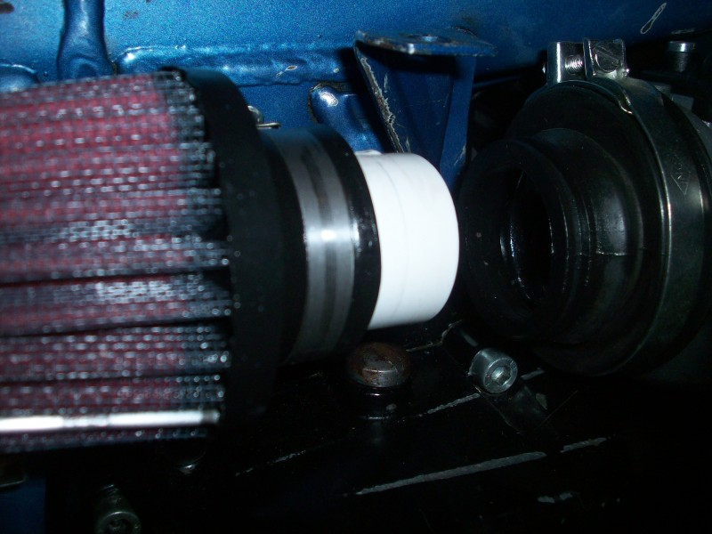Plastic PVC pipe used to connect K&N RC-0790 with rubber boot on Carb