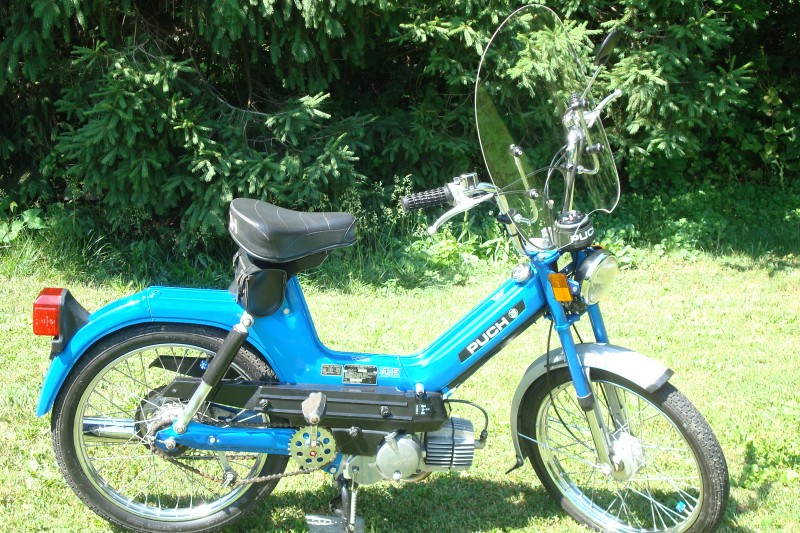 Side view of 1980 Puch Maxi with Windshield