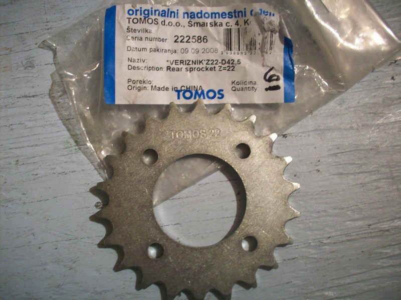 22 Tooth Rear Sprocket for 2009 Tomos Sprint